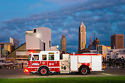 A Pierce Saber pumper truck at Voinovich Park in Cleveland, OH on Wednesday, July 22, 2015.