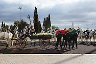 January 6, 2017. Lisbon - Portugal.<br /> Mario Soares coffin to be placed on carriage. <br /> Funeral ceremony  of Mario Soares. Ex-president of the republic of Portugal.