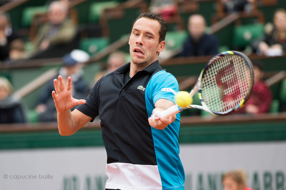 Paris, France. Roland Garros. May 26th 2013.<br /> French player Michael LLODRA against Steve DARCIS