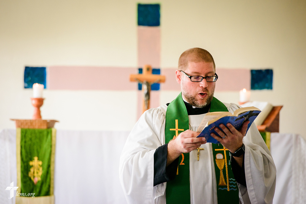 The Rev. Joel Fritsche, LCMS career missionary to the Dominican Republic, leads chapel at the Concordia Reformer Lutheran Seminary and Mercy Center in Palmar Arriba, Dominican Republic, on Wednesday, Oct. 18, 2017. LCMS Communications/Erik M. Lunsford