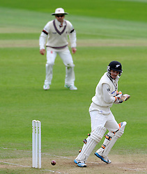 New Zealand's BJ Watling flicks the ball. Photo mandatory by-line: Harry Trump/JMP - Mobile: 07966 386802 - 10/05/15 - SPORT - CRICKET - Somerset v New Zealand - Day 3- The County Ground, Taunton, England.