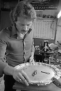 Silversmith working at Frank Cobb Ltd, Broad Street Sheffield. 1985