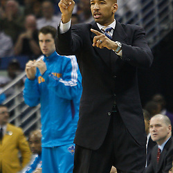 February 12, 2011; New Orleans, LA, USA; New Orleans Hornets head coach Monty Williams against the Chicago Bulls during the first quarter at the New Orleans Arena.   Mandatory Credit: Derick E. Hingle