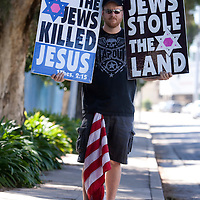 Members of the Westboro Baptist Church demonstrate in Los Angeles. Picketing Yeshiva University High School for girls, a jewish school