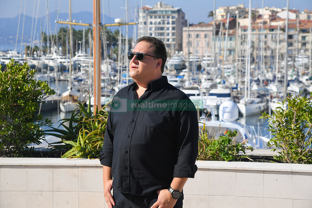"Juan Pablo Escobar (son of the most powerful drug trafficker of the 20th century and the most famous inthe word) for the film ""Escobar Uncovered"" Beyond Distribution at the MIPCOM (International Market of Communications Programmes) (Photo by Lionel Urman/Sipa USA)"