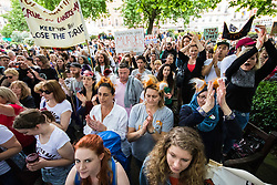 London, May 29th 2107.  Anti-foxhunting protesters gather for a march through London to Downing Street following Prime Minister Theresa May's hint that she could allow a Parliamentary debate on the unbanning of the sport.