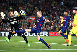 May 9, 2018 - Barcelona, Catalonia, Spain - Sergio Asenjo and Andres Iniesta during the match between FC Barcelona and Villarreal CF, played at the Camp Nou Stadium on 09th May 2018 in Barcelona, Spain. (Credit Image: © Joan Valls/NurPhoto via ZUMA Press)