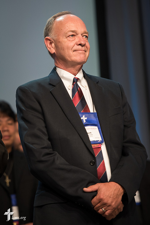 Wisconsin Evangelical Lutheran Synod President Mark Schroeder is presented to the delegates at the 2016 LCMS Convention on Tuesday, July 12, 2016, at the 66th Regular Convention of The Lutheran Church–Missouri Synod, in Milwaukee. LCMS/Michael Schuermann
