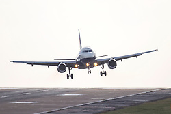 © Licensed to London News Pictures. 04/03/2019. Leeds UK. A British Airways aircraft struggles to land this morning at England's highest airport, Leeds Bradford International as storm Freya continues to batter the UK. Photo credit: Andrew McCaren/LNP
