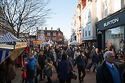 Crowds of people Christmas shopping in town centre of Ipswich, Suffolk, England, UK