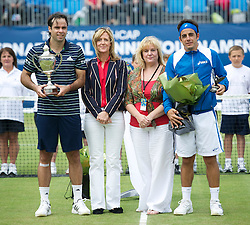 LIVERPOOL, ENGLAND - Saturday, June 18, 2011: Men's Champion Fernando Gonzalez (CHI) Tradition ICAP sponsor, Liverpool City Councillor Wendy Simon and runner-up Federico Gil (POR) on day three of the Liverpool International Tennis Tournament at Calderstones Park. (Pic by David Rawcliffe/Propaganda)