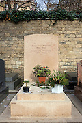 Grave of writers and philospher Jean Paul Sartre and Simone de Beauvoir in Montparnasse Cemetery, Paris.