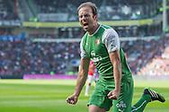 EINDHOVEN, PSV - Feyenoord, voetbal Eredivisie, seizoen 2013-2014, 13-04-2014, Philips Stadion, Feyenoord speler Joris Mathijsen heeft de 0-1 gescoord.