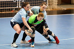 Jasmina Pisek and Eleonora Kodele of ZRK Z Dezele vs Monika Novak of RK Ljubljana during handball match between RK Ljubljana and ZRK Z Dezele in Bronze Medal game of Slovenian Women Handball Cup 2017/18, on April 1, 2018 in Park Kodeljevo, Ljubljana, Slovenia. Photo by Matic Klansek Velej / Sportida