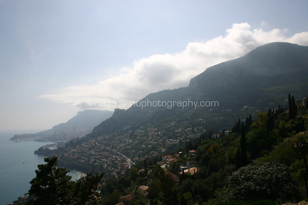 View from Roquebrune Village South of France towards Monaco