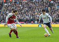 Football - 2017 / 2018 Premier League - Tottenham Hotspur vs. Arsenal<br /> <br /> Heung-Min Son (Tottenham FC)  attacks Hector Bellerín (Arsenal FC) in the eary stages of the game at Wembley Stadium.<br /> <br /> COLORSPORT/DANIEL BEARHAM