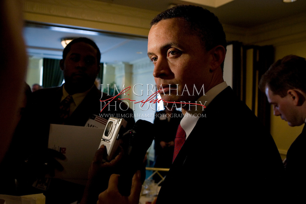 Former Congressman Harold Ford, Jr.  was named Chair of the Democratic Leadership Council Former Tennessee Congressman replacing Iowa Gov. Tom Vilsack. Ford talks to reporters after making his first speech as Chair of the DLC to a packed room in the Park Phoenix Hotel in Washington, D.C. Wednesday, March 28, 2007.(Photograph by Jim Graham)
