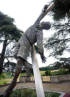 Football - 2016 / 2017 season - new England manager Sam Allarydce, first press conference<br /> <br /> Statue of Arthur Wharton at St George's Park, Burton upon Trent <br /> (28 October 1865 – 13 December 1930) is widely considered to be the first black professional football player in the world . Wharton was the first black professional and the first to play in the Football League.<br /> Clubs played for are <br /> 1885–1886Darlington1<br /> 1886–1888Preston North End2(1)<br /> 1889–1894Rotherham Town0(0)<br /> 1894–1895Sheffield United1(0)<br /> 1895–1897Stalybridge Rovers4(1)<br /> 1897–1899Ashton North End1(0)<br /> 1899–1901Stalybridge Rovers1(0)<br /> 1901–1902Stockport County6<br /> <br /> COLORSPORT/ANDREW COWIE