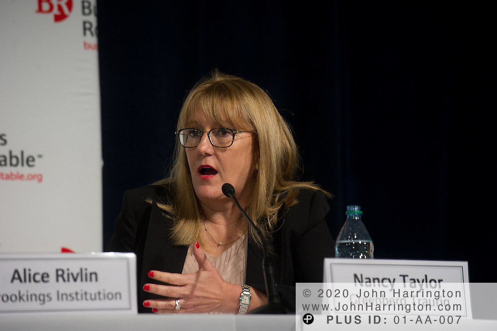 """Nancy Taylor, Shareholder, Greenberg Traurig speaks in a panel during the Business Roundtable """"Meeting the Challenges of Economic Growth and Deficit Reduction"""" discussion at the Newseum in Washington, DC on September 6th, 2011."""