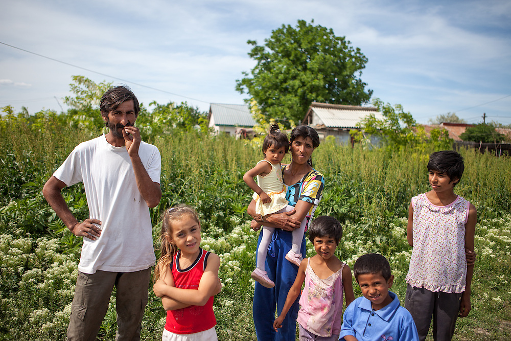 A family in the Roma area of Frumusani.