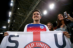 England's Harry Maguire holds up a banner for former team Sheffield United after winning the FIFA World Cup 2018, round of 16 match at the Spartak Stadium, Moscow.