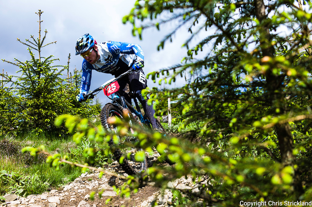 Glentress, Peebles, Scotland, UK. 31st May 2015. Josh Carlson in action at The Enduro World Series Round 3 taking place on the iconic 7Stanes trails during Tweedlove Festival. Mountain bikers come up against eight stages across two days, with an intense 2,695 metres of climbing over 93km. As well as the physicality of the liaisons, the stages themselves are technical, catching many off guard.