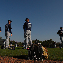 February 20, 2011; Port Charlotte, FL, USA; Tampa Bay Rays pitchers on the field during a spring training practice at Charlotte Sports Park.  Mandatory Credit: Derick E. Hingle