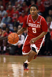 17 January 2015:   Tramique Sutherland during an NCAA MVC (Missouri Valley Conference men's basketball game between the Bradley Braves and the Illinois State Redbirds at Redbird Arena in Normal Illinois