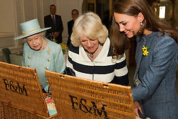 LONDON,ENGLAND-1-MAR-2012- ROTA: Britain's Queen Elizabeth, Camilla, Duchess of Cornwall and Catherine, Duchess of Cambridge visit the Fortnum and Mason store in central London.Photographer Leon Neal Supplied by Ian Jones Photography..No UK Sales for 28 days until 1-4-12