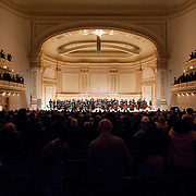 November 25, 2012 - New York, NY : Music director Joshua Gersen (not clearly visible) and the New York Youth Symphony take a bow after performing in Carnegie Hall's Isaac Stern Auditorium on Sunday afternoon. CREDIT: Karsten Moran for The New York Times