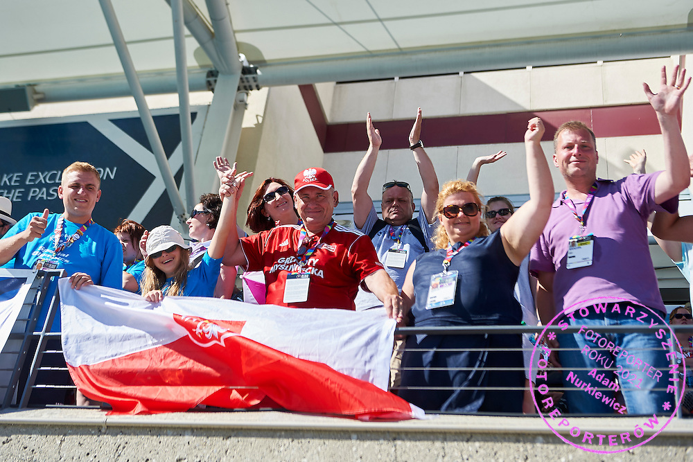 Polish delegation support athetes while 25 meters backstroke competition during second day of the Special Olympics World Games Los Angeles 2015 on July 26, 2015 on Uytengsu Aquatics Centre at University of Southern California in Los Angeles, USA.<br /> USA, Los Angeles, July 26, 2015<br /> <br /> Picture also available in RAW (NEF) or TIFF format on special request.<br /> <br /> For editorial use only. Any commercial or promotional use requires permission.<br /> <br /> Adam Nurkiewicz declares that he has no rights to the image of people at the photographs of his authorship.<br /> <br /> Mandatory credit:<br /> Photo by &copy; Adam Nurkiewicz / Mediasport