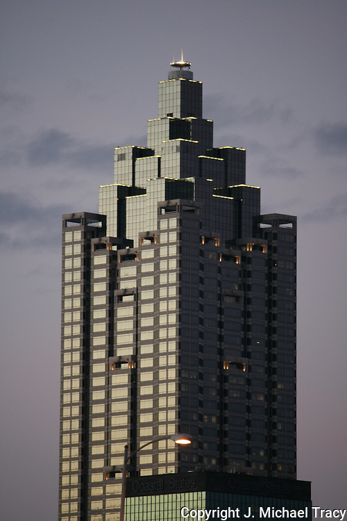 Photo of an Atlanta Skyscraper, office building at dusk.