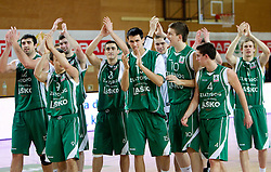 Slobodan Bozovic, Daniel Vujasinovic, Vladimir Panic,  Simo Atanackovic, Alen Omic and Uros Zadnik of Zlatorog celebrate after  winning the basketball match between KK Geoplin Slovan and KK Zlatorog Lasko in 4th Quarterfinal of Spar Slovenian Cup, on February 11, 2011 in Sportna dvorana Poden, Skofja Loka, Slovenia. Zlatorog defeated Slovan 79-72. (Photo By Vid Ponikvar / Sportida.com)