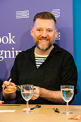 Pictured: Children's author David Roberts was on hand to meet his young fans<br /> Book fanatics headed to Charlotte Square in Edinburgh which is the hub of the international Book Festival to meet the authors and also to meet up with fellow fans of the printed word.<br /> <br /> <br /> Ger Harley | EEm 14 August 2017