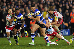 Sam Burgess of Bath Rugby making his rugby union debut takes on the Harlequins defence - Photo mandatory by-line: Patrick Khachfe/JMP - Mobile: 07966 386802 28/11/2014 - SPORT - RUGBY UNION - Bath - The Recreation Ground - Bath Rugby v Harlequins - Aviva Premiership