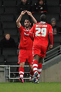 Picture by David Horn/Focus Images Ltd +44 7545 970036.26/12/2012.Will Grigg of Walsall celebrates scoring with team mate Craig Westcarr during the npower League 1 match at stadium:mk, Milton Keynes.