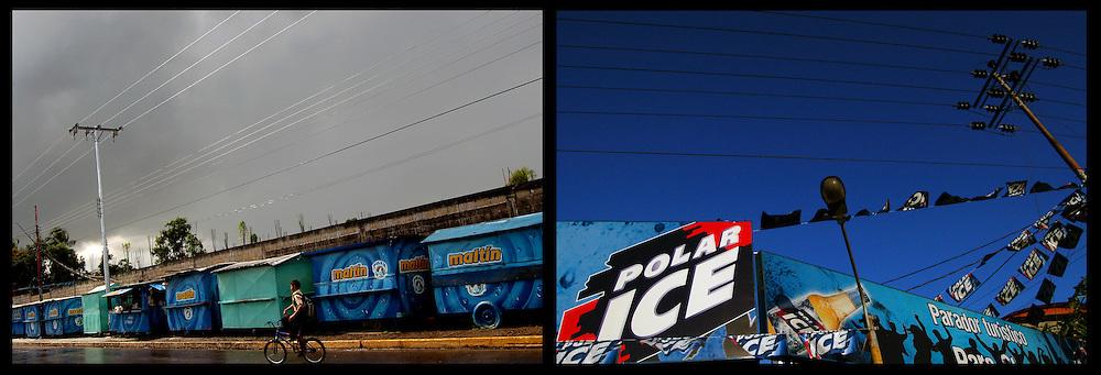 DAILY VENEZUELA II / VENEZUELA COTIDIANA II<br /> Photography by Aaron Sosa <br /> <br /> Left: Guasdualito, Apure State - Venezuela 2007 / Guasdualito, Estado Apure - Venezuela 2007<br /> <br /> Right: Venezuelan beer advertising, Cua, Miranda State - Venezuela 2008 / Publicidad de cerveza venezolana, Cua, Estado Miranda - Venezuela 2008<br /> <br /> (Copyright © Aaron Sosa)