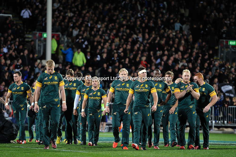 The South African team warming up during the Investec Rugby Championship match, All Blacks v South Africa ,AMI Stadium, Christchurch, New Zealand, 17th September 2016. © Copyright Photo: John Davidson / www.photosport.nz