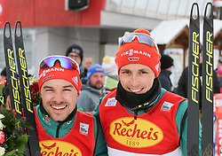 16.12.2017, Nordische Arena, Ramsau, AUT, FIS Weltcup Nordische Kombination, Langlauf, im Bild v. l.: Fabian Riessle (GER, 2. Platz), Sieger Eric Frenzel (GER) // f. l.: 2nd placed Fabian Riessle of Germany, winner Eric Frenzel of Germany during Cross Country Competition of FIS Nordic Combined World Cup, at the Nordic Arena in Ramsau, Austria on 2017/12/16. EXPA Pictures © 2017, PhotoCredit: EXPA/ Martin Huber