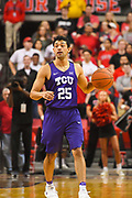 LUBBOCK, TX - MARCH 3: Alex Robinson #25 of the TCU Horned Frogs brings the ball up court during the game against the Texas Tech Red Raiders on March 3, 2018 at United Supermarket Arena in Lubbock, Texas. Texas Tech defeated TCU 79-75. Texas Tech defeated TCU 79-75. (Photo by John Weast/Getty Images) *** Local Caption *** Alex Robinson