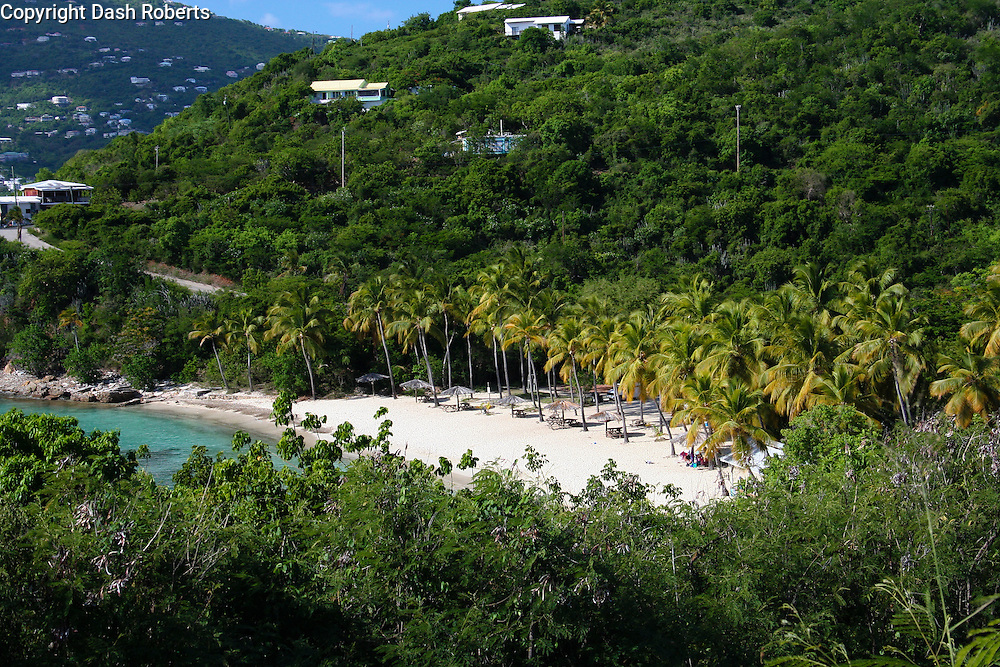 "A view of Honeymoon Beach located on Water Island just off the coast of St. Thomas, USVI.  This beach is seen briefly in the Brad Pitt movie ""The Curious Case of Benjamin Button""."