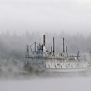 Ian Stewart/Yukon News<br /> Cool temperatures create a fog on the Yukon River by the SS Klondike this week.