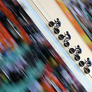 Track Cycling - Olympics: Day 6  Pieter Bulling #20, Aaron Gate #21, Dylan Kennett #22 and Regan Gough #134 of Team New Zealand in action during the Men's Team Pursuit Finals in the track cycling competition at the Rio Olympic Velodrome August 12, 2016 in Rio de Janeiro, Brazil. (Photo by Tim Clayton/Corbis via Getty Images)
