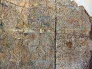 Wall panel showing the Assyrian camp. Assyrian, approximately 700-692 BC. From the South-West Palace in Nineveh. Part of the Lachish series, showing the base camp from which they launched the siege.