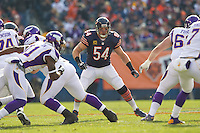 25 November 2012: Linebacker (54) Brian Urlacher of the Chicago Bears in game action against the Minnesota Vikings during the first half of the Bears 28-10 victory over the Vikings in an NFL football game at Soldier Field in Chicago, IL.
