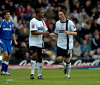 Photo: Ian Hebden.<br />Derby County v Millwall. Coca Cola Championship. 08/04/2006.<br />Derby goalscorer Tommy Smith (R) shakes with Kevin Lisbie.
