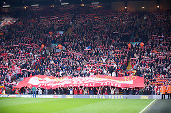 LIVERPOOL, ENGLAND - Saturday, March 15, 2008: Liverpool fans on the Spion Kop during the Premiership match against Reading at Anfield. (Photo by David Rawcliffe/Propaganda)