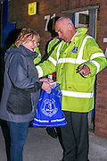 Everton Stewards searching bags for security reasons  during the Barclays Premier League match between Everton and Crystal Palace at Goodison Park, Liverpool, England on 7 December 2015. Photo by Simon Davies.