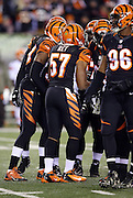 Cincinnati Bengals outside linebacker Vincent Rey (57) huddles with the defense during the NFL week 10 regular season football game against the Cleveland Browns on Thursday, Nov. 6, 2014 in Cincinnati. The Browns won the game 24-3. ©Paul Anthony Spinelli