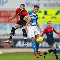 St Johnstone v Turriff Utd FC.. 02.08.16  IRN-BRU CUP 1st Round  <br />Andrzej Kieczkowski in an aerial battle with Aaron Comrie<br />Picture by Graeme Hart.<br />Copyright Perthshire Picture Agency<br />Tel: 01738 623350  Mobile: 07990 594431